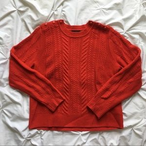Shoulder Button Cable Knit Sweater